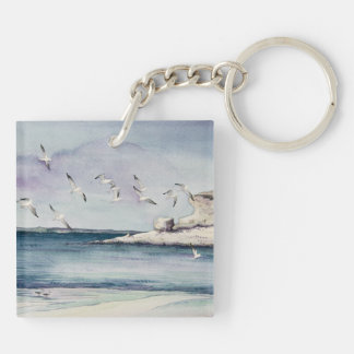 1774 Seagulls at Sandy Beach Double-Sided Square Acrylic Keychain