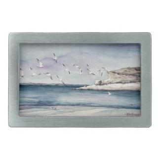 1774 Seagulls at Sandy Beach Rectangular Belt Buckle