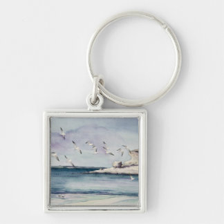 1774 Seagulls at Sandy Beach Silver-Colored Square Keychain