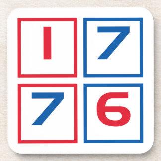 1776 American flag colored blocks Beverage Coaster