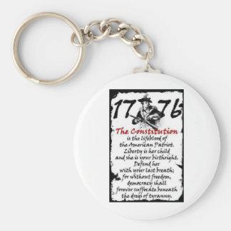 1776 BASIC ROUND BUTTON KEYCHAIN