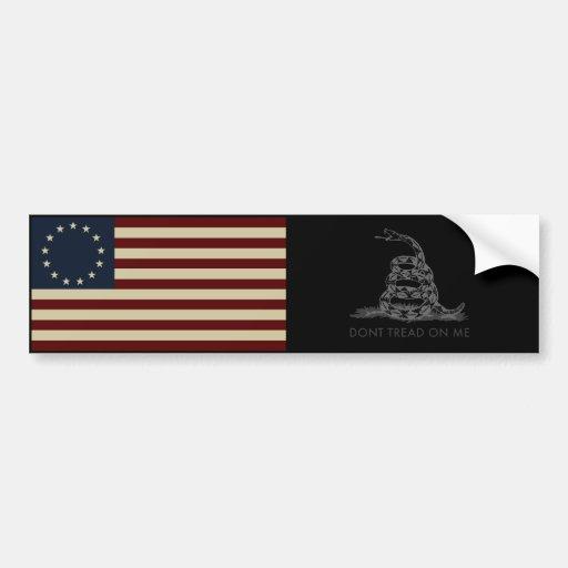 1776 Betsy Ross Flag / DONT TREAD ON ME Gadsden Car Bumper Sticker