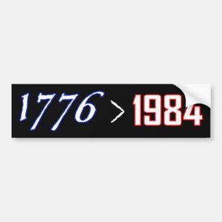 1776 es mayor de 1984 etiqueta de parachoque