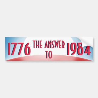 1776 la respuesta a 1984 etiqueta de parachoque
