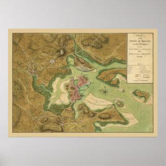 1776 Map Boston Incampments of US & Brit Armies Poster