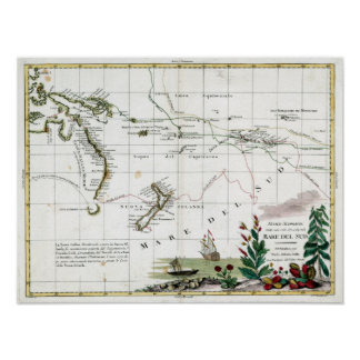 1776 Map of Captain Cook's Voyages Poster