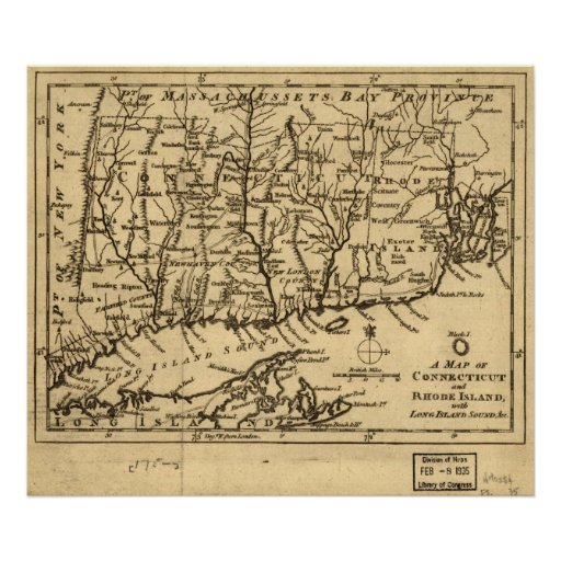 1776 Map of Connecticut and Rhode Island Posters