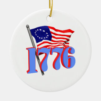 1776 Double-Sided CERAMIC ROUND CHRISTMAS ORNAMENT
