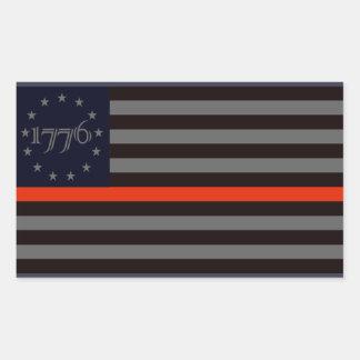 1776 Red Line Rectangular Sticker
