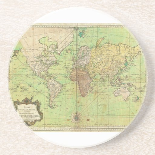 1778 Bellin Nautical Chart or Map of the World Coasters