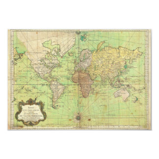 1778 Bellin Nautical Chart or Map of the World 3.5x5 Paper Invitation Card