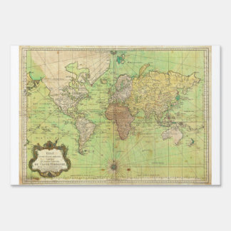 1778 Bellin Nautical Chart or Map of the World Lawn Sign