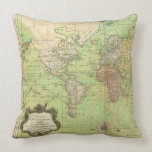 1778 Bellin Nautical Chart or Map of the World Throw Pillows