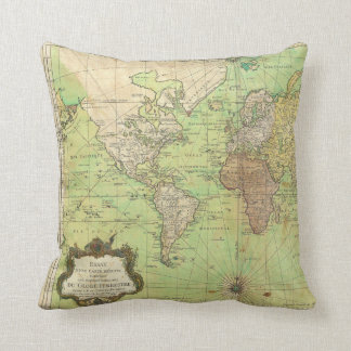 1778 Bellin Nautical Chart or Map of the World Pillow