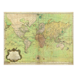 1778 Bellin Nautical Chart or Map of the World Postcard