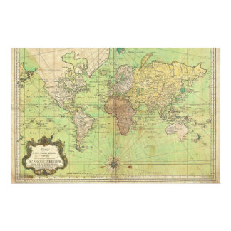 1778 Bellin Nautical Chart or Map of the World Stationery