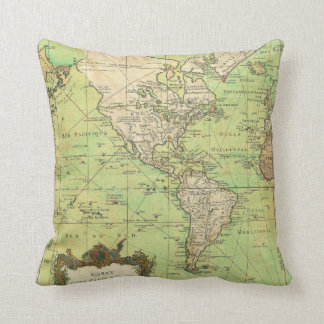 1778 Bellin Nautical Chart or Map of the World Throw Pillow