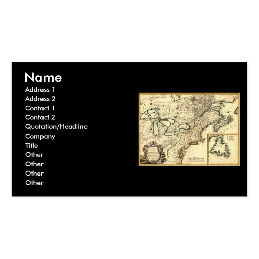 1778 Map of Canada and the United States Double-Sided Standard Business Cards (Pack Of 100)