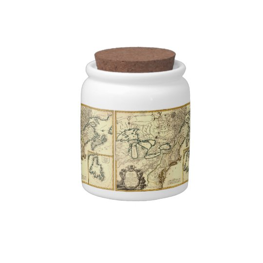 1778 Map of Canada and the United States Candy Jars
