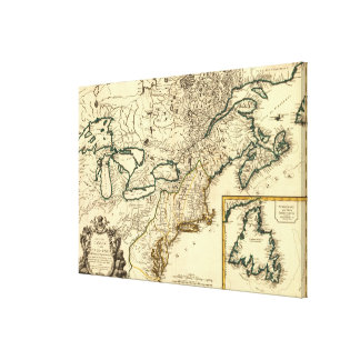 1778 Map of Canada and the United States Canvas Print