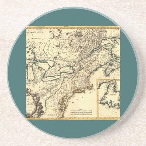 1778 Map of Canada and the United States Drink Coaster