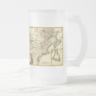1778 Map of Canada and the United States Frosted Glass Beer Mug
