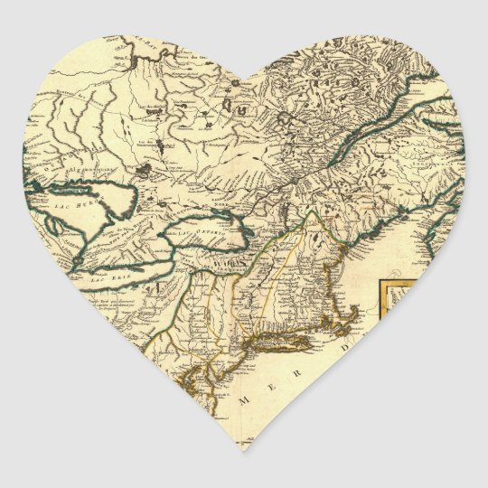 1778 Map of Canada and the United States Heart Sticker
