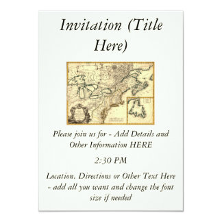 """1778 Map of Canada and the United States 4.5"""" X 6.25"""" Invitation Card"""