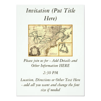 1778 Map of Canada and the United States 6.5x8.75 Paper Invitation Card