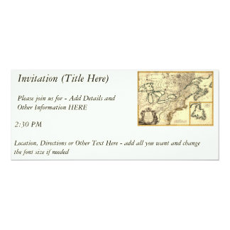 """1778 Map of Canada and the United States 4"""" X 9.25"""" Invitation Card"""