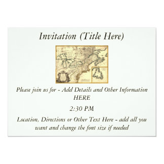 """1778 Map of Canada and the United States 5.5"""" X 7.5"""" Invitation Card"""