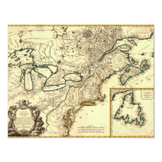 """1778 Map of Canada and the United States 4.25"""" X 5.5"""" Invitation Card"""