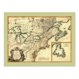 1778 Map of Canada and the United States Postcard