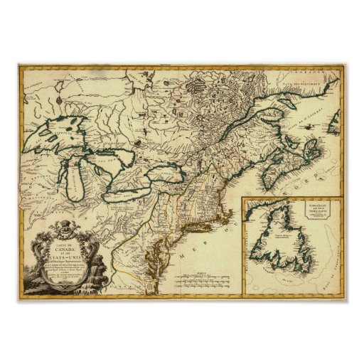 1778 Map of Canada and the United States Print