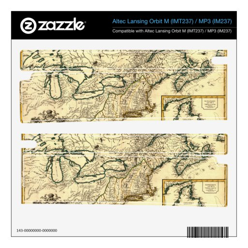 1778 Map of Canada and the United States Orbit M Speaker Skins