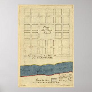 1778 mapa Plaza de la Villa de Gálvez Luisiana Póster