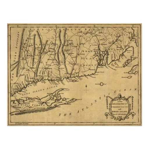 1780 Map of Connecticut and Rhode Island Print