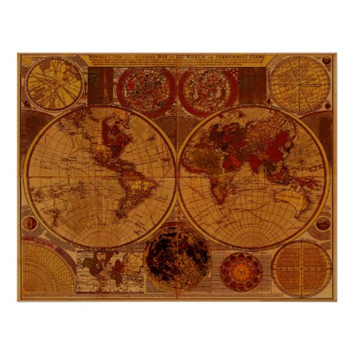 1780 Old World Map Art Poster Zazzle