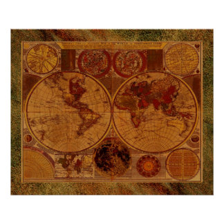 1780 Old World Map Art with Leather-effect border Poster