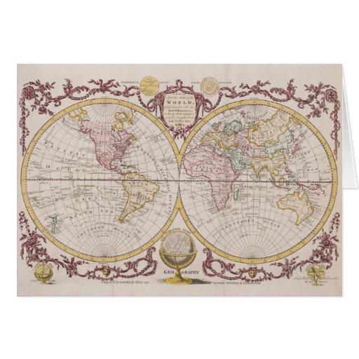 1782 Baldwyn Map of the World Greeting Card