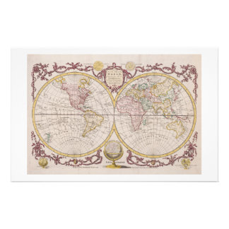 1782 Baldwyn Map of the World Stationery