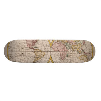 1782 Map of the World by George Augustus Baldwyn Skateboard
