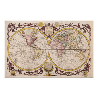 1782 Map of the World by George Augustus Baldwyn Stationery