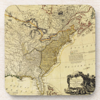 1784 Map of the United States of America by Faden Beverage Coaster