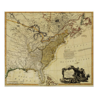1784 Map of the United States of America by Faden Poster