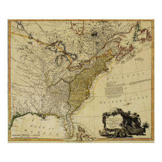 1784 Map of the United States of America by Faden Print