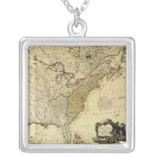 1784 Map of the United States of America by Faden Square Pendant Necklace