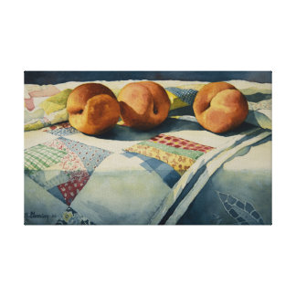 1786 Peaches on Quilt Wrapped Canvas Print