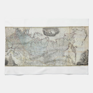 1787 Wall Map of the Russian Empire Hand Towels