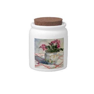 1790 African Violets in Blue Pot Candy Jars